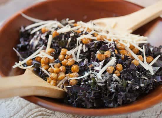 Kale Chickpea Caesar Salad tossed