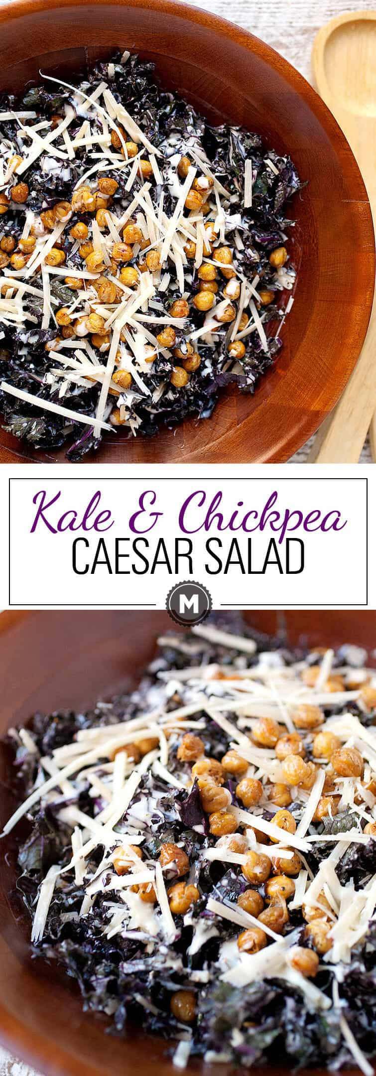 Kale Chickpea Caesar Salad: This salad is all about simple and tasty veggies. Purple kale lightly tossed in a homemade caesar salad dressing (no anchovies in this version). Roasted, crispy chickpeas take the place of croutons! I love this salad in the winter! | macheesmo.com