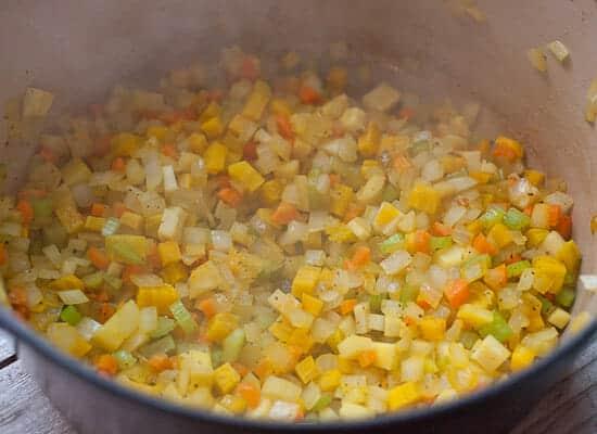 Root Vegetable Ribollita cooking