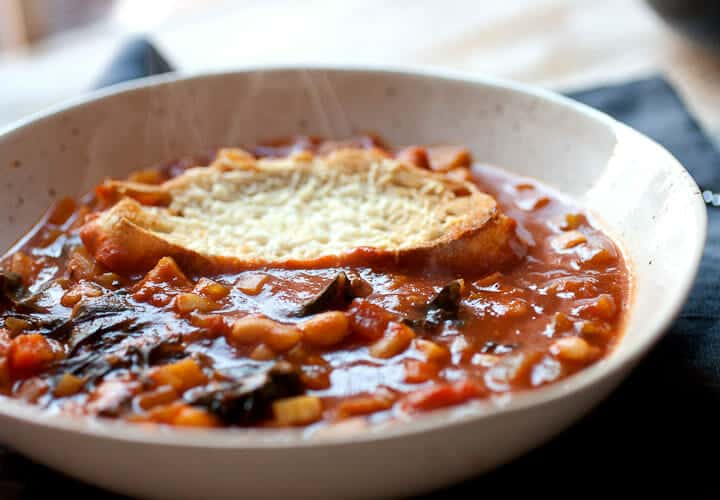 Root Vegetable Ribollita: This hearty winter stew is packed with root veggies like parsnip and golden beets and thickened with any leftover bread you have on hand. Don't forget the cheese bread topper!   macheesmo.com