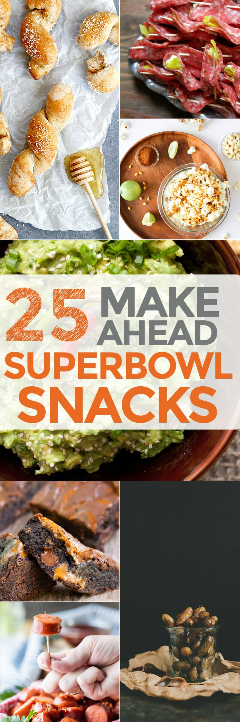 25 Make Ahead Superbowl Snacks: These awesome recipes are easy to make in advance so you can chill and watch the game without running back and forth to the kitchen. Relax, eat well, and enjoy the game! | macheesmo.com