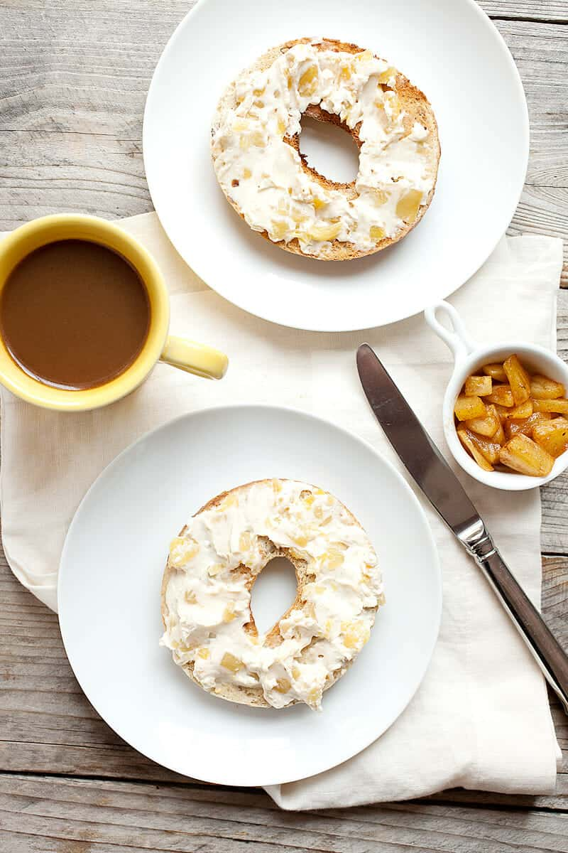 Caramelized Pineapple Cream Cheese: If I'm going to spend the time to make my own bagel spread, it needs to be original (can't find it in the stores) and very delicious (worth the work). This sweet and citrusy spread checks both of those boxes for sure! | macheesmo.com