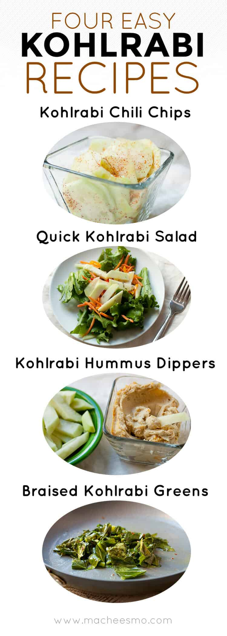 Wonderful Ways to Eat Kohlrabi! Kohlrabi is my new favorite vegetable to eat raw! Toss it on salads, use it as a dipper, or make raw veggie chips out of it! Oh... and don't forget the greens! Check out the post to see how to transform this vegetable into total deliciousness. | macheesmo.com