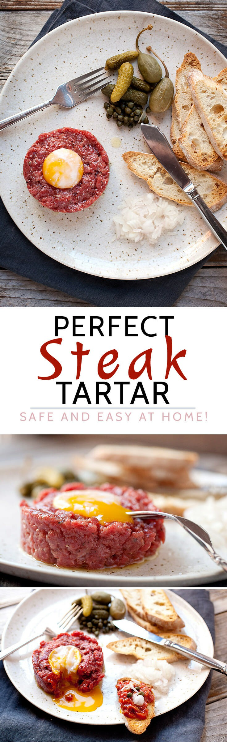 Perfect Steak Tartare at Home! Here's how to make the classic French appetizer SAFELY at home! It's really easy with a few simple tips and no stove required! Stop over-paying for it in fancy restaurants! | macheesmo.com #steak #tartare #homemade