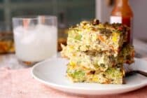 7 Veggie Pesto Breakfast Casserole: This breakfast casserole has about as many veggies as you can pack into one dish. Rather than cheese, I like to stir in pesto for a big flavor boost! Eat a good breakfast, people! | macheesmo.com