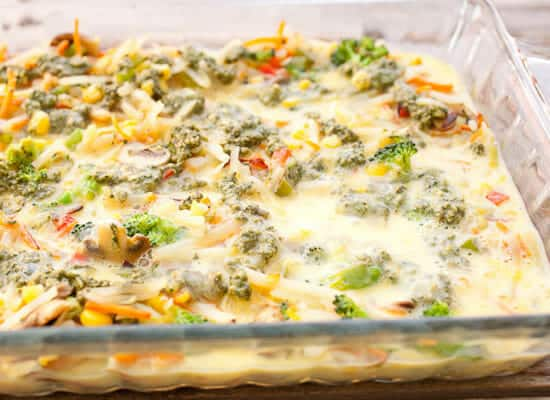 7 Veggie Pesto Breakfast Casserole