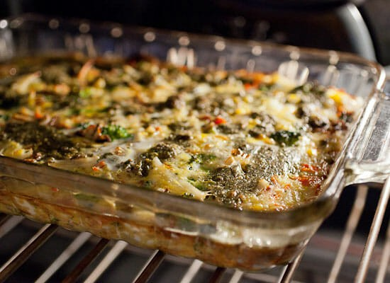 7 Veggie Pesto Breakfast Casserole baking