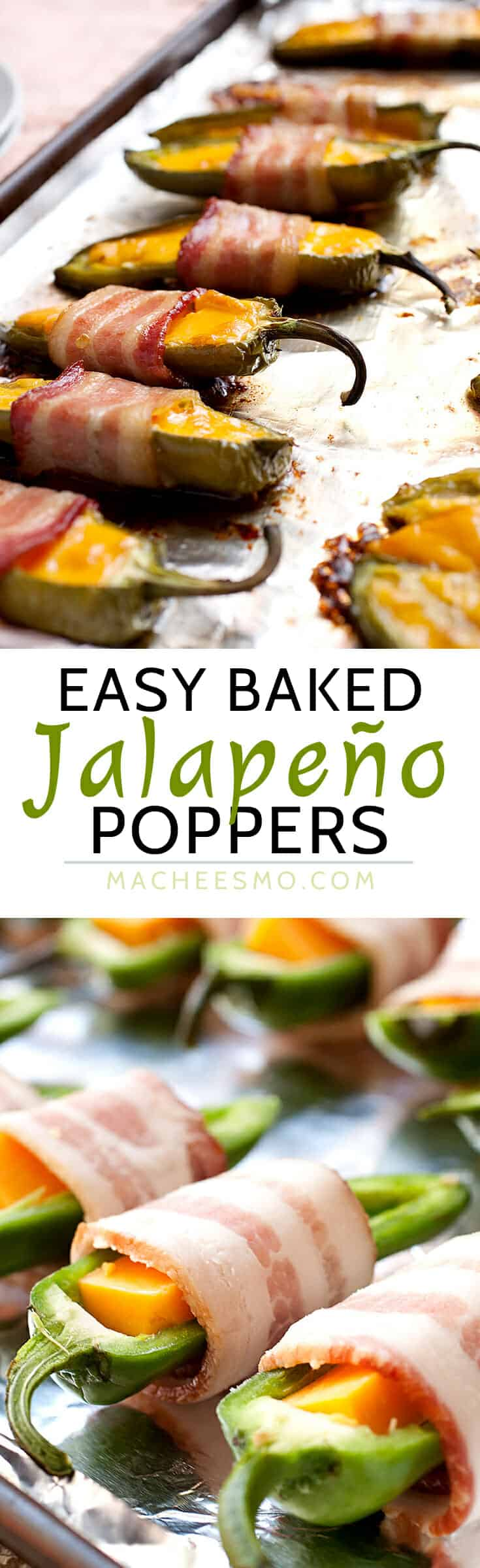 Three Ingredient Baked Jalapeño Poppers: These little guys are easy to make and SO addictive. Make a big batch of these for your next game day celebration and try not to eat them all yourself! | macheesmo.com