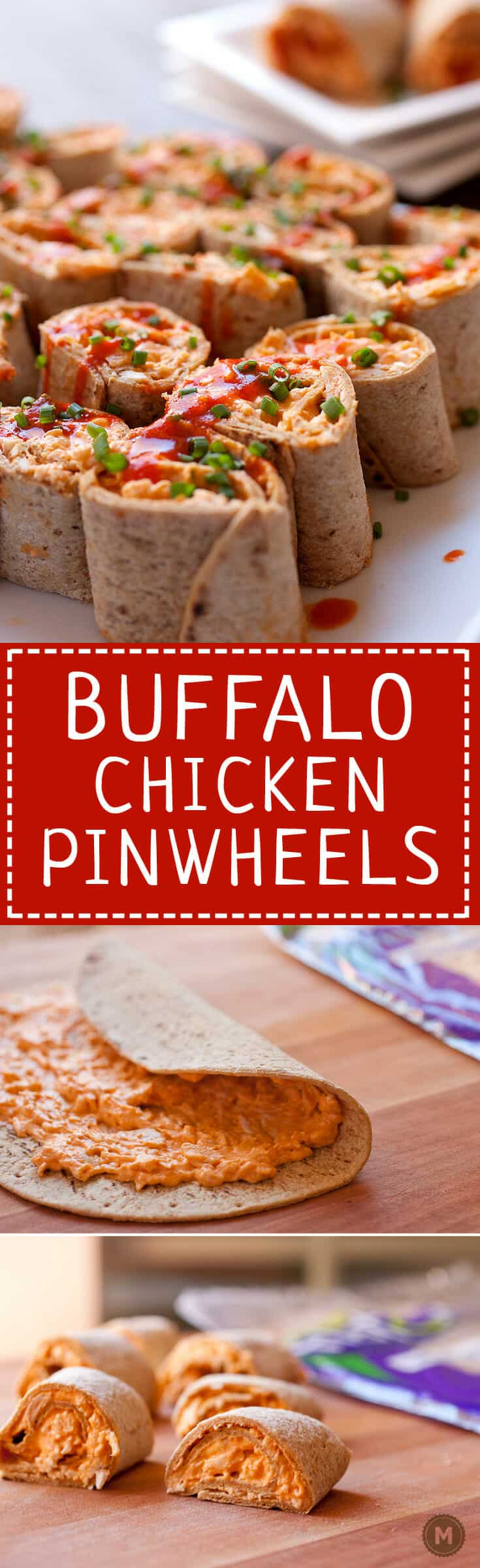Buffalo Chicken Pinwheels: These are the perfect game day appetizer. Spicy and totally addictive, you need only five ingredients to make them happen and you can make them in advance! Use your favorite Flatout Flatbread to roll 'em up! #spons | macheesmo.com