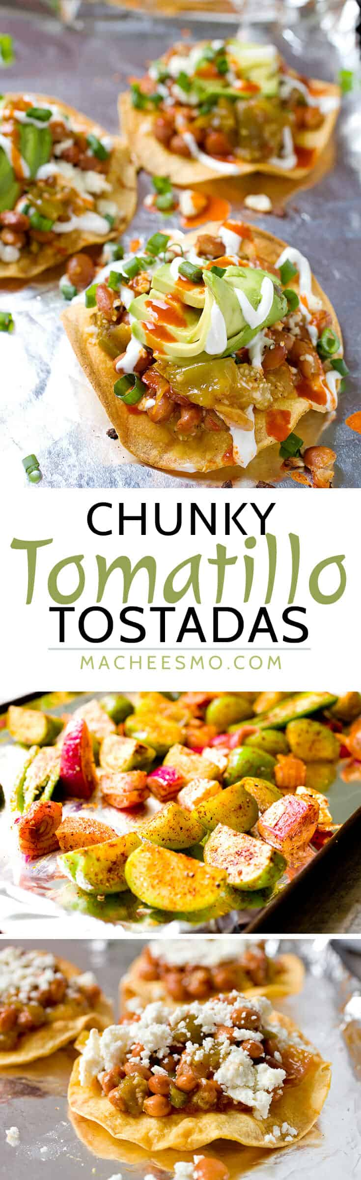 These crispy tostadas are topped with roasted tomatillos, pinto beans ...