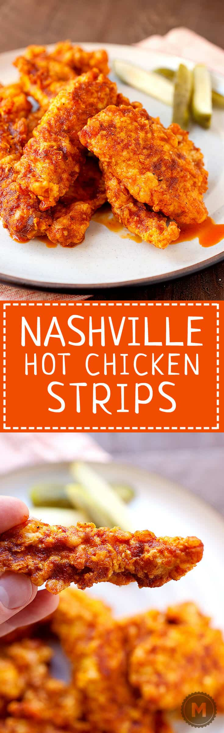 Nashville Hot Chicken Strips: 🍗 🔥 Traditional Nashville hot chicken is all the rage these days, but you don't have to go all the way to Tennessee to get it. Thanks to a simple (and dare-worthy) chili oil, you can make it at home! I like to make chicken strips with it, but you could use it on full pieces also! Get ready to sweat! | macheesmo.com