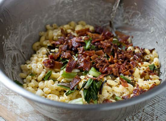 Charred Scallion and Bacon Macaroni Salad