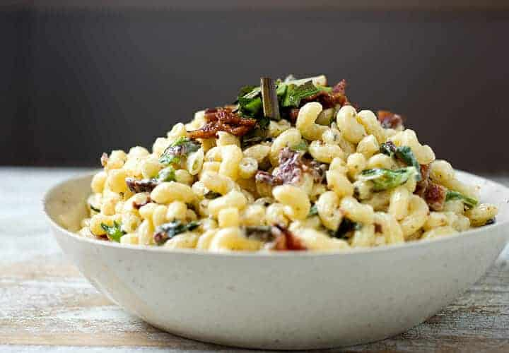 Charred Scallion and Bacon Macaroni Salad: Your new favorite macaroni salad, just in time for picnics and outside parties. Slightly sweet charred scallions, crispy bacon, and just enough dressing to hold it all together. Macaroni salad done right! | macheesmo.com