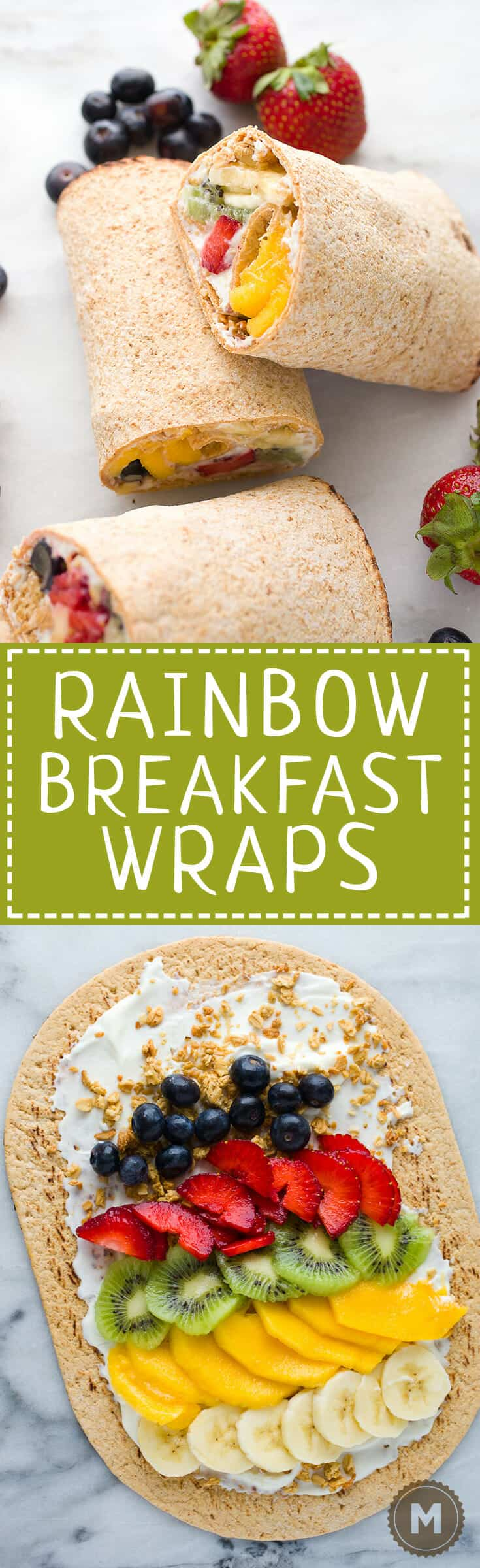 Rainbow Breakfast Wraps: 🌈 These quick wraps are so quick to make an a perfect way to start the day. Packed with granola, Greek yogurt, and colorful fruits and stuffed inside a flatbread. #sponsored | macheesmo.com