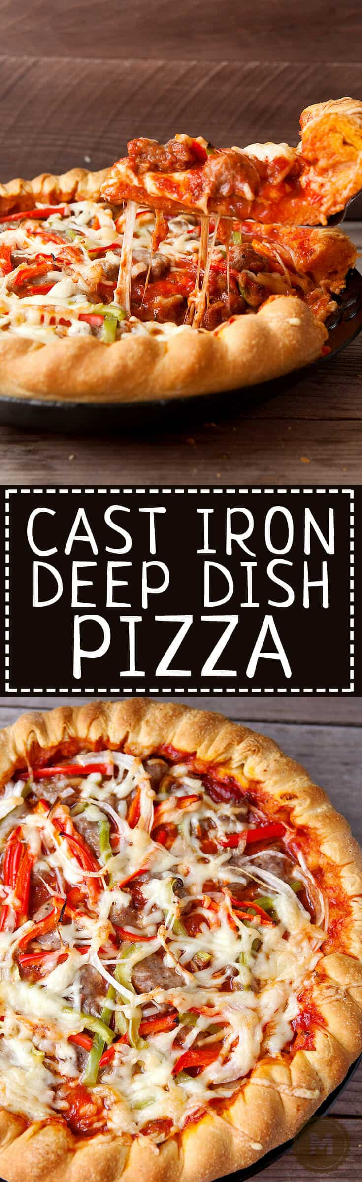 Cast Iron Deep Dish Pizza: This pizza is loaded with toppings and cheese and compiled in the traditional deep dish order (cheese on the bottom)! Cooking it in a cast iron skillet gives it a perfect, crispy crust. Included is my favorite homemade deep dish pizza crust recipe, but you can also make it with store-bought crust!