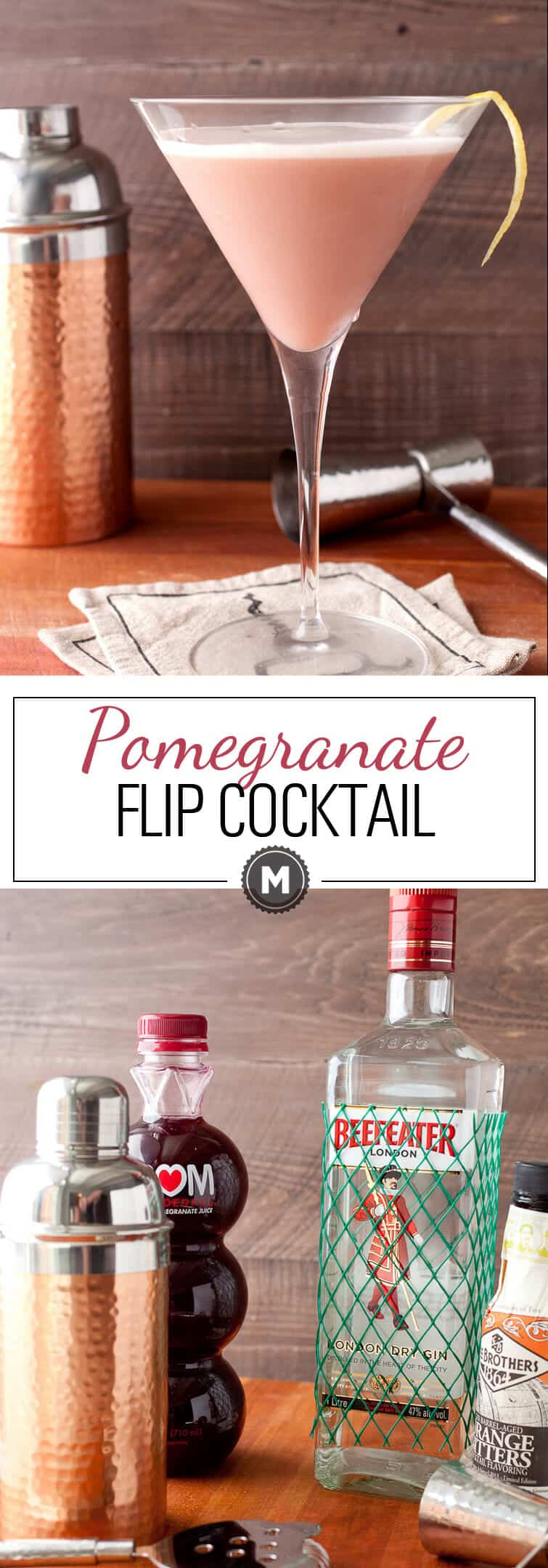 The Pomegranate Flip Cocktail: This easy cocktail is a classic but with a modern twist! It's perfect for a hot summer day: light and refreshing! The secret ingredient to a real flip cocktail: EGG WHITE! Don't skip it! Click through to learn how to make it right! | macheesmo.com