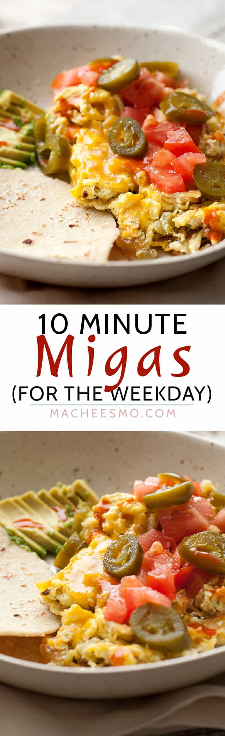 10-Minute Weekday Migas: Breakfast during the week is a huge struggle. But, we can all do better than a bowl of cereal. This big bowl of delicious tex-mex flavors is done in literally 10 minutes. Dig in! | macheesmo.com