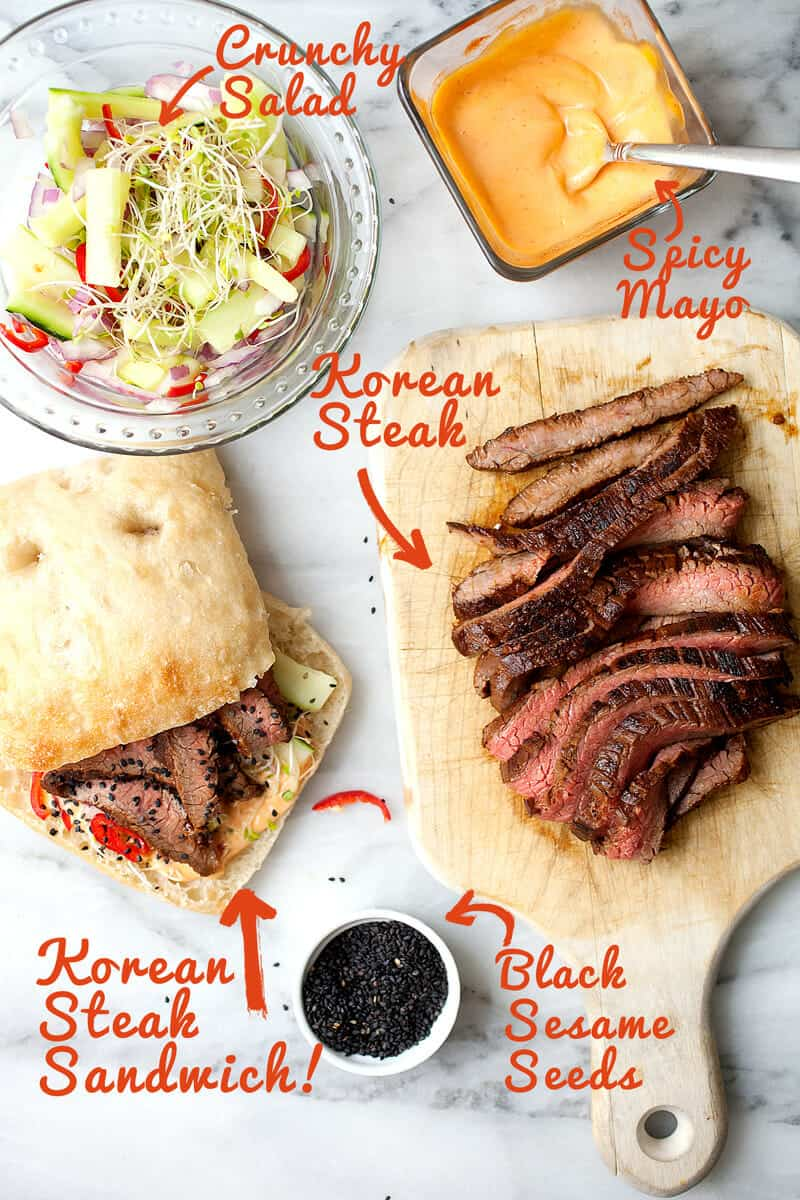 Korean Steak Sandwiches: Slighty spicy and sweet flank steak sliced thin and stuffed in a roll with spicy mayo and a crunchy veggie salad. One of the best steak sandwiches. Surprisingly light and refreshing! | macheesmo.com