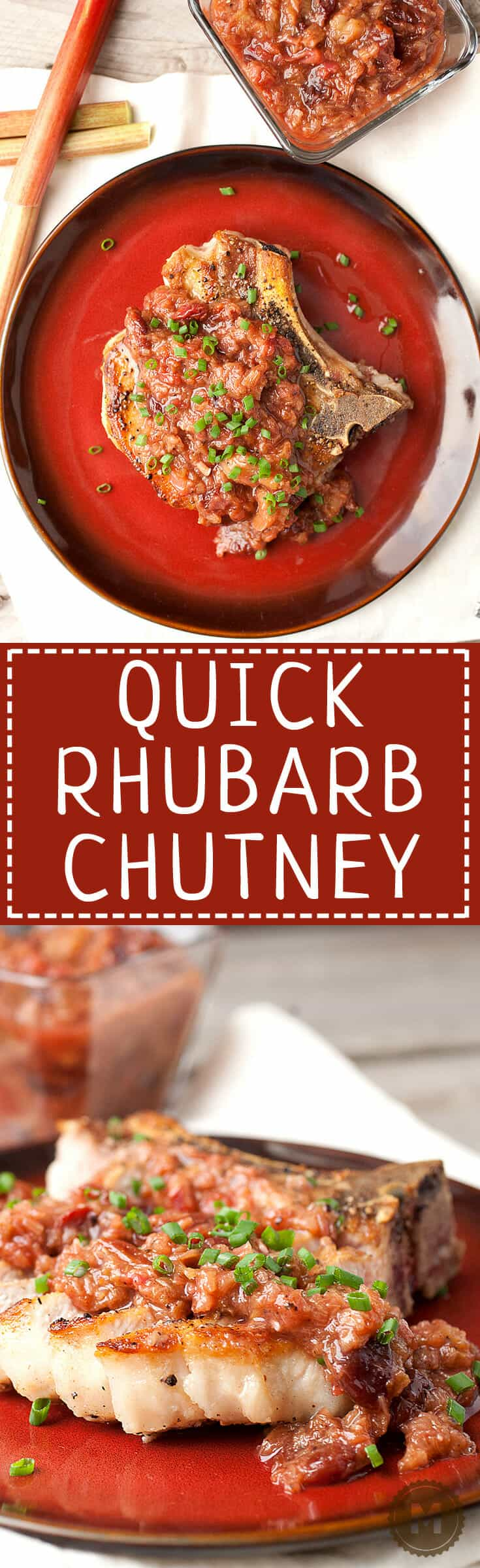 Quick Rhubarb Chutney: A perfect savory use for in-season rhubarb. Sweet and tangy and perfect over any grilled meat. Make some this summer! | macheesmo.com