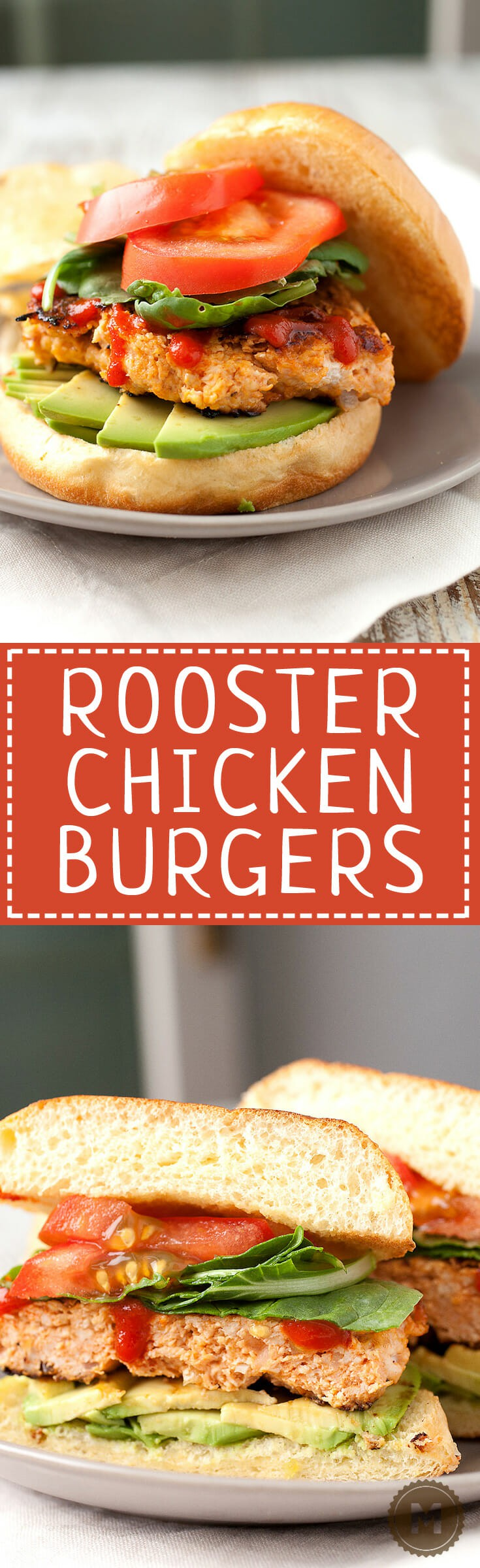 Sriracha Chicken Burgers: I call these my rooster chicken burgers thanks to rooster (Sriracha) sauce! It's mixed in with the burger and added on top also. This is not your standard bland chicken burger. Spice it up! | macheesmo.com