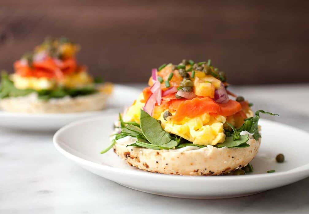 Mile High Open-Faced Bagels: These stacked beauties are too big to sandwich! You have to just build them on half a bagel due to all the wonderful toppings. Also, they can be ready to eat in literally 10 minutes. So fast and perfect for a surprisingly light and delicious breakfast or brunch. | macheesmo.com