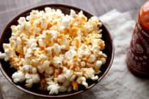 Brown Butter Sriracha Popcorn: Possibly the most addictive popcorn I've ever had. Slightly sweet with a hint of brown butter and just enough spice. Gotta love good popcorn!   macheesmo.com