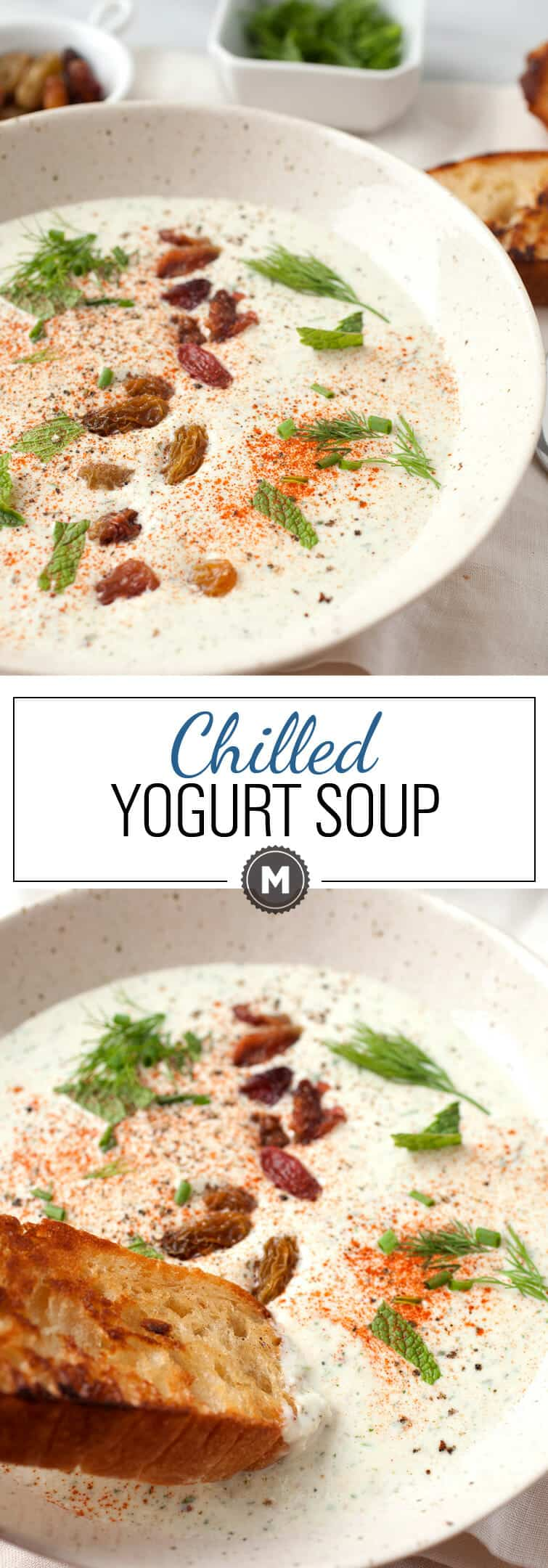 Chilled Yogurt Soup: Take the heat off with this easy to make blender cold yogurt soup! Topped with golden raisins, fresh herbs, and smoked paprika. It's best served with a big hunk of crusty bread! | macheesmo.com