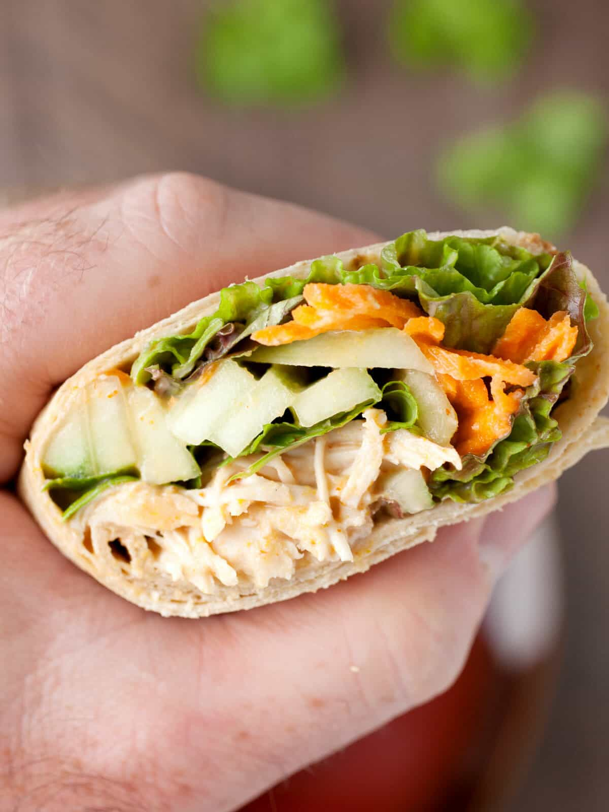 Spicy Coconut Chicken Wraps: These simple and flavorful chicken wraps can be made with poached chicken or a rotisserie chicken. They have loads of fresh, crunchy veggies but are still really fast to make. A great fast dinner or weekday lunch option! | macheesmo.com