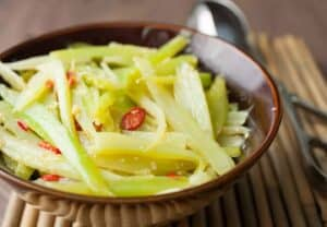 Hot Flash Celery Salad: One of my favorite new side dishes, flash cooked celery over high heat with a simple spicy and sweet dressing. Just a few ingredients and super delicious! | macheesmo.com