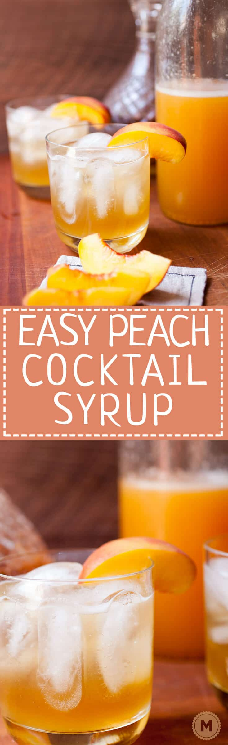 Easy Peach Cocktail Syrup: Just three ingredients (plus a pinch of salt) is all you need for this delicious seasonal cocktail syrup. I love it with a little gin or bourbon, but you can also make a delicious nonalcoholic beverage with club soda! Cheers! | macheesmo.com