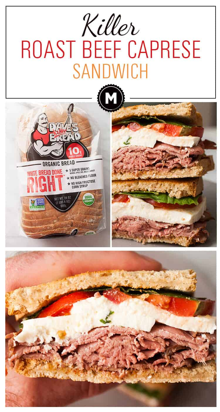 Roast Beef Caprese Sandwich: This easy and quick lunch sandwich has everything you want with no fancy prep! So fast and so delicious! | macheesmo.com