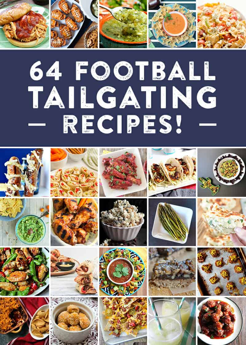 64 recipes for the perfect football tailgate! Check out everything from appetizer recipes, entree recipes, cocktail recipes, dessert recipes, side dish recipes and more to cheer on your team! #foodiefootballfans