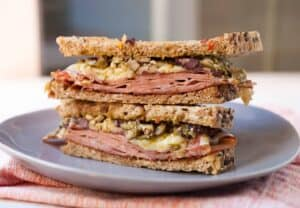 Better Bologna Sandwich: A grown up and much tastier version of the bologna sandwich. I like to use good Mortadella, Gruyere cheese, and a quick homemade olive tapenade. Mouth watering! | macheesmo.com
