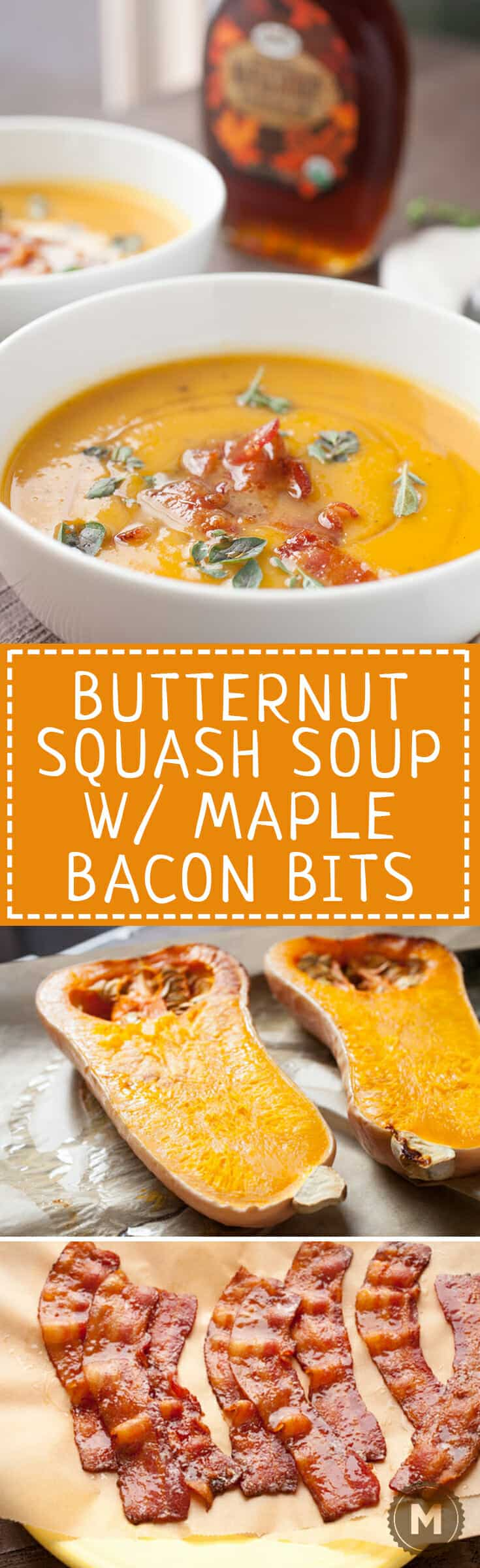 Butternut Squash Soup with Maple Bacon: Say hello to fall with this delicious roasted squash soup. The soup itself is really easy but gets a nice crunch and sweetness from crumbled maple bacon on top! YUM! | macheesmo.com