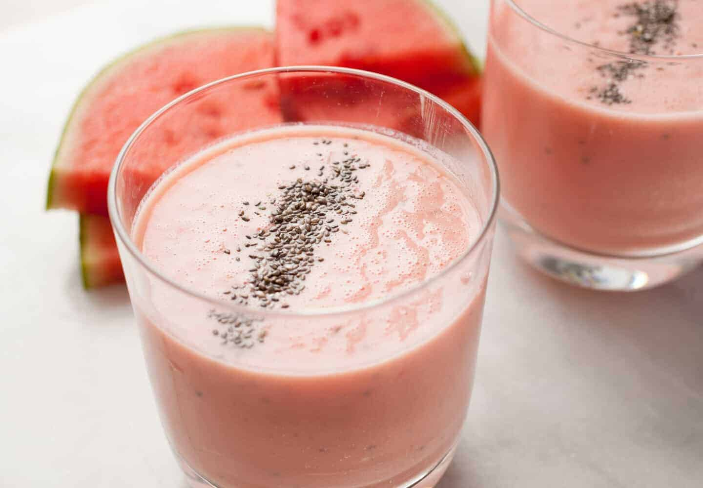 Creamy Watermelon Honey Smoothie: Light and refreshing, watermelon is the perfect base for a quick smoothie. This version gets some extra help from Greek yogurt, chia, and honey. So good! | macheesmo.com