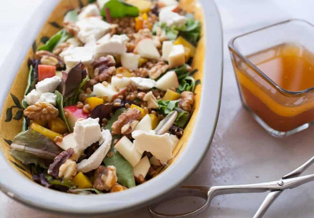Fall Crunch Salad: This is the kind of salad I love this time of year. It's hearty, has loads of veggies and textures, plus creamy goat cheese and a tangy apple dressing. For a bonus, you can top it with an egg! | macheesmo.com