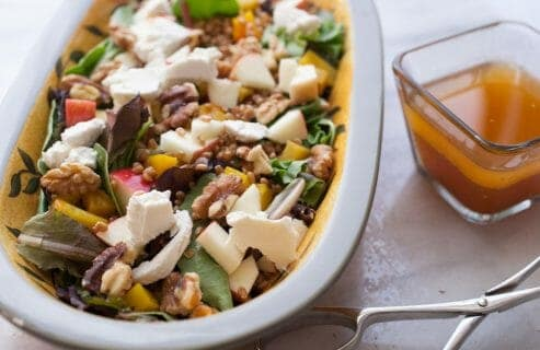 Fall Crunch Salad: This is the kind of salad I love this time of year. It's hearty, has loads of veggies and textures, plus creamy goat cheese and a tangy apple dressing. For a bonus, you can top it with an egg!   macheesmo.com