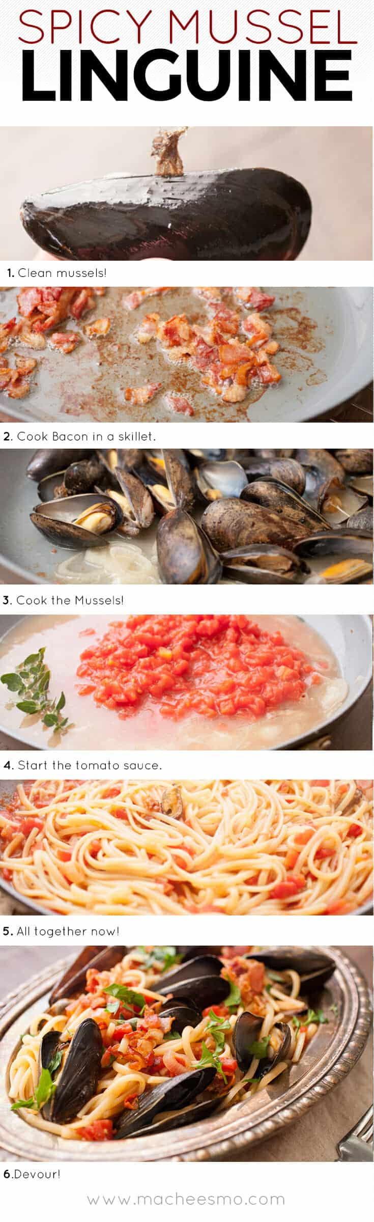 Spicy Mussel Linguine: This is a classic Italian dish packed with fresh mussels plus a light tomato sauce and crispy bacon. Surprisingly easy to make and so delicious. Don't forget the bread! | macheesmo.com