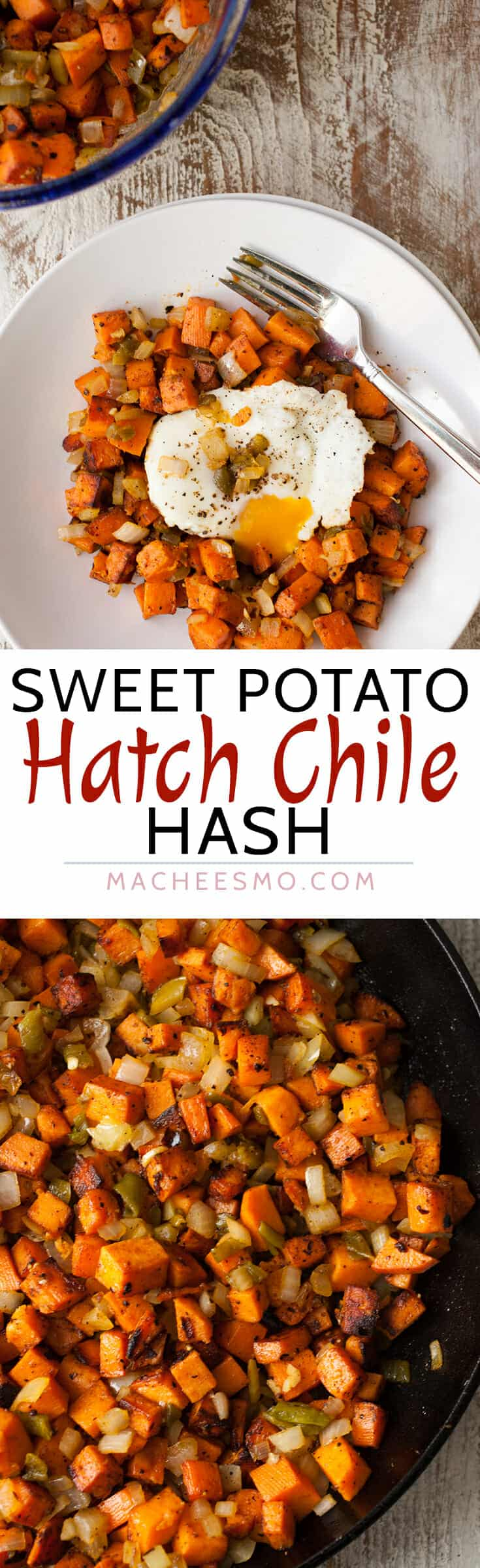Sweet Potato Hatch Chile Hash: Spicy and sweet never looked so good together. Caramelized sweet potatoes with spicy roasted Hatch chiles with a perfect egg on top. Perfect fall breakfast! | macheesmo.com