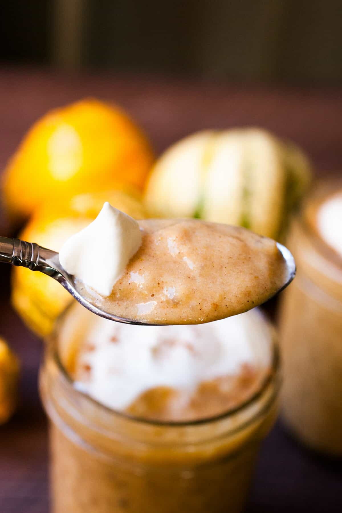 Pumpkin Tapioca Pudding: This creamy homemade tapioca is almost like pumpkin pie in a jar! It's so creamy and delicious and has just enough spice and sweetness. You'll love it. | macheesmo.com