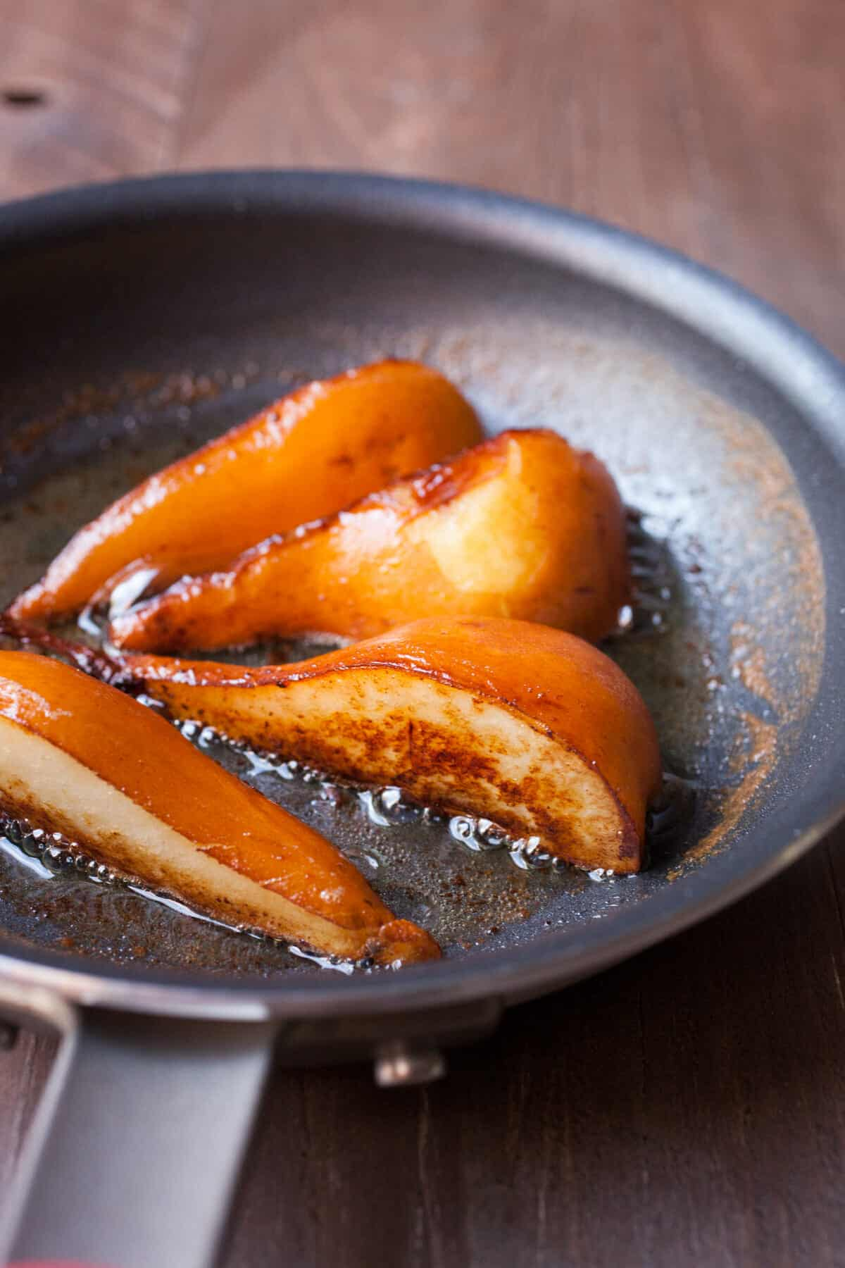 Caramelized Pears with Butter Rum Sauce ~ Macheesmo