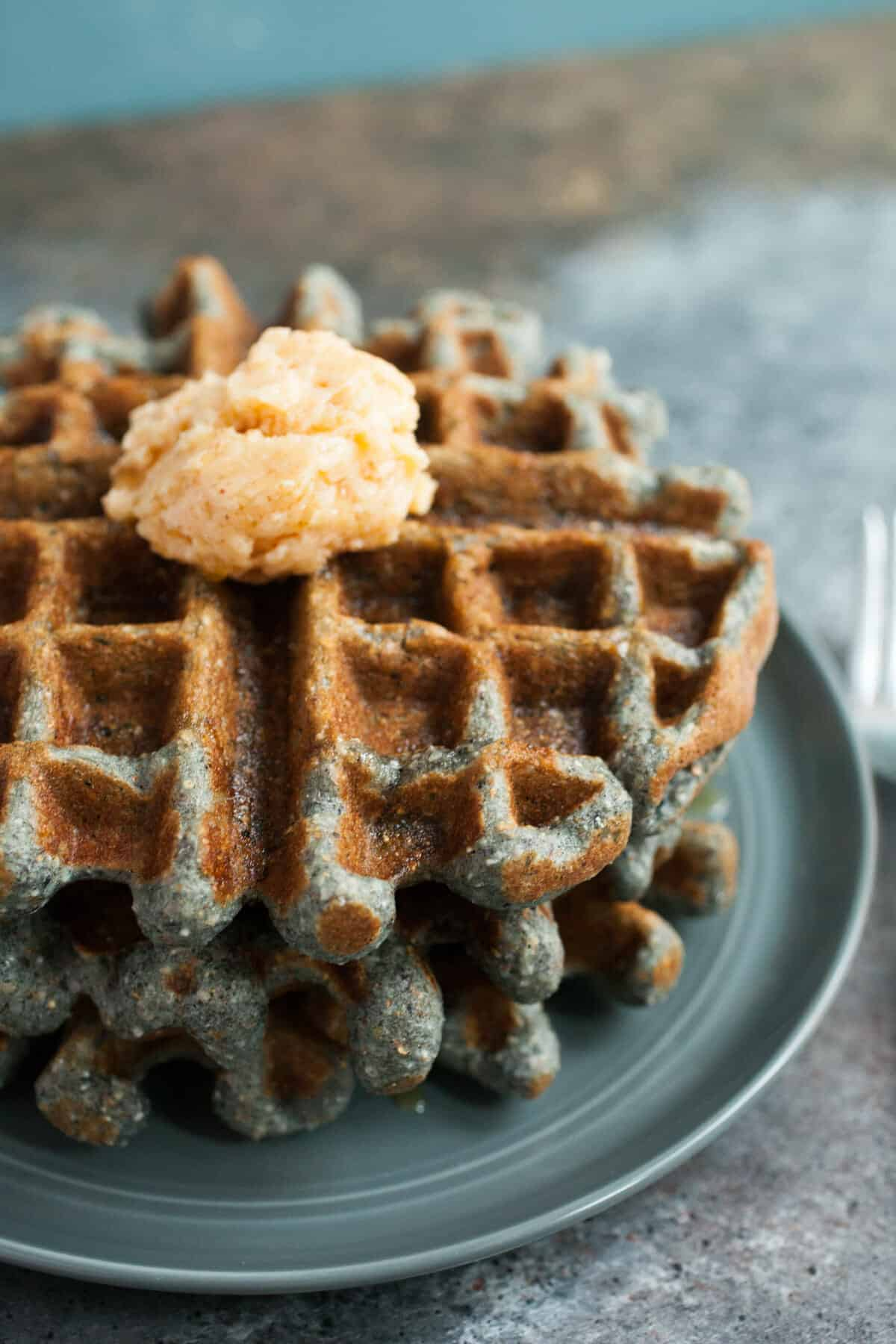 Blue Corn Honey Waffles: These are grown up waffles. Slightly crunchy and dense with just enough sweetness. I like to serve mine with a chili honey butter! | macheesmo.com