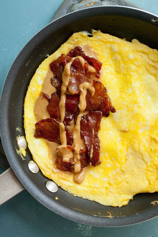 Peanut Butter Omelet with Candied Bacon
