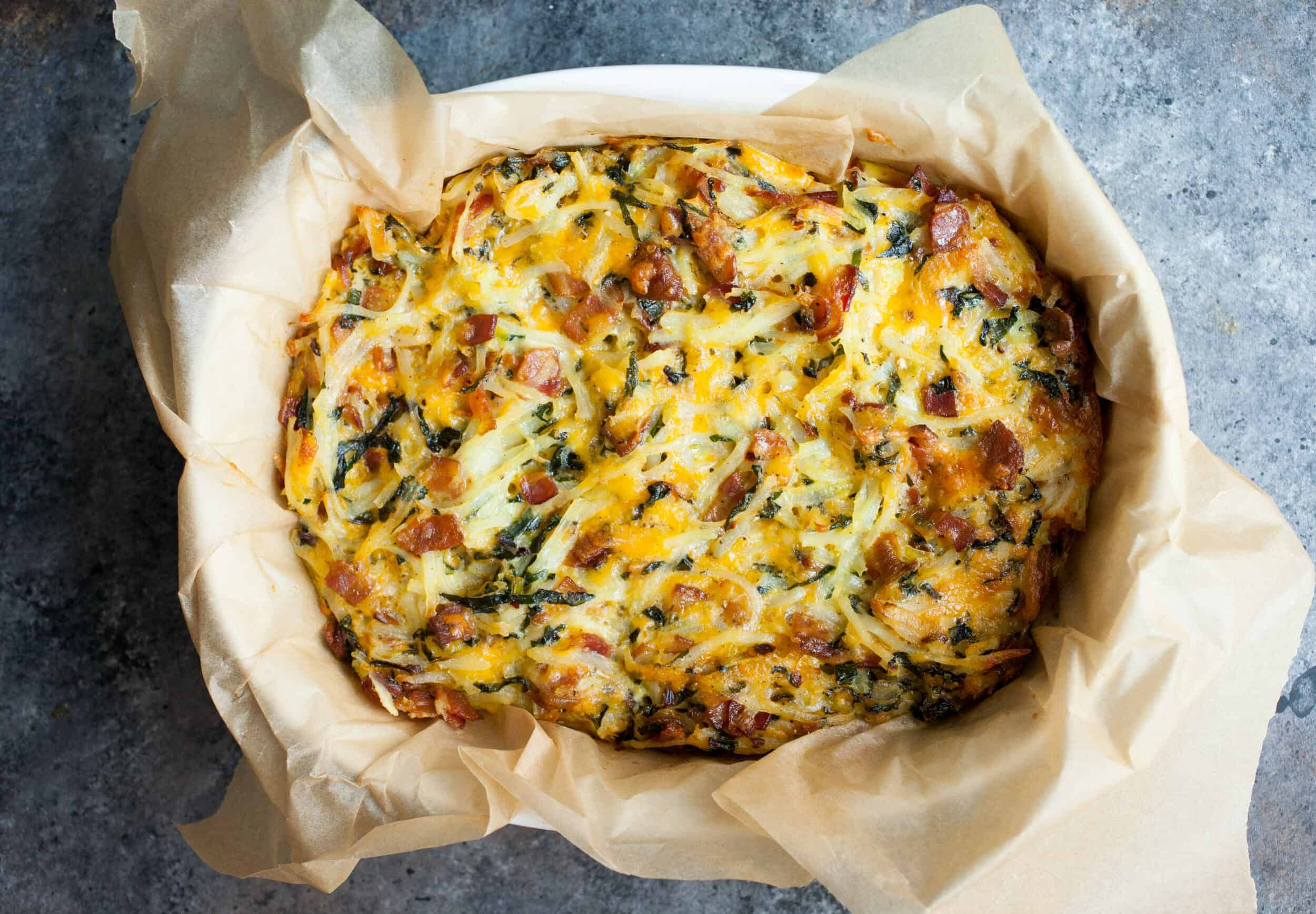 Potato Breakfast Pie with Bacon and Kale