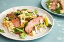 Grilled Steak and Corn Salad: Light and fresh salad perfect for summer! Everything is cooked on the grill. Really fresh Asian-inspired flavors. Great for weekday lunches as well! | macheesmo.com