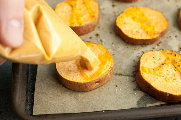 Hummus Sweet Potato Rounds