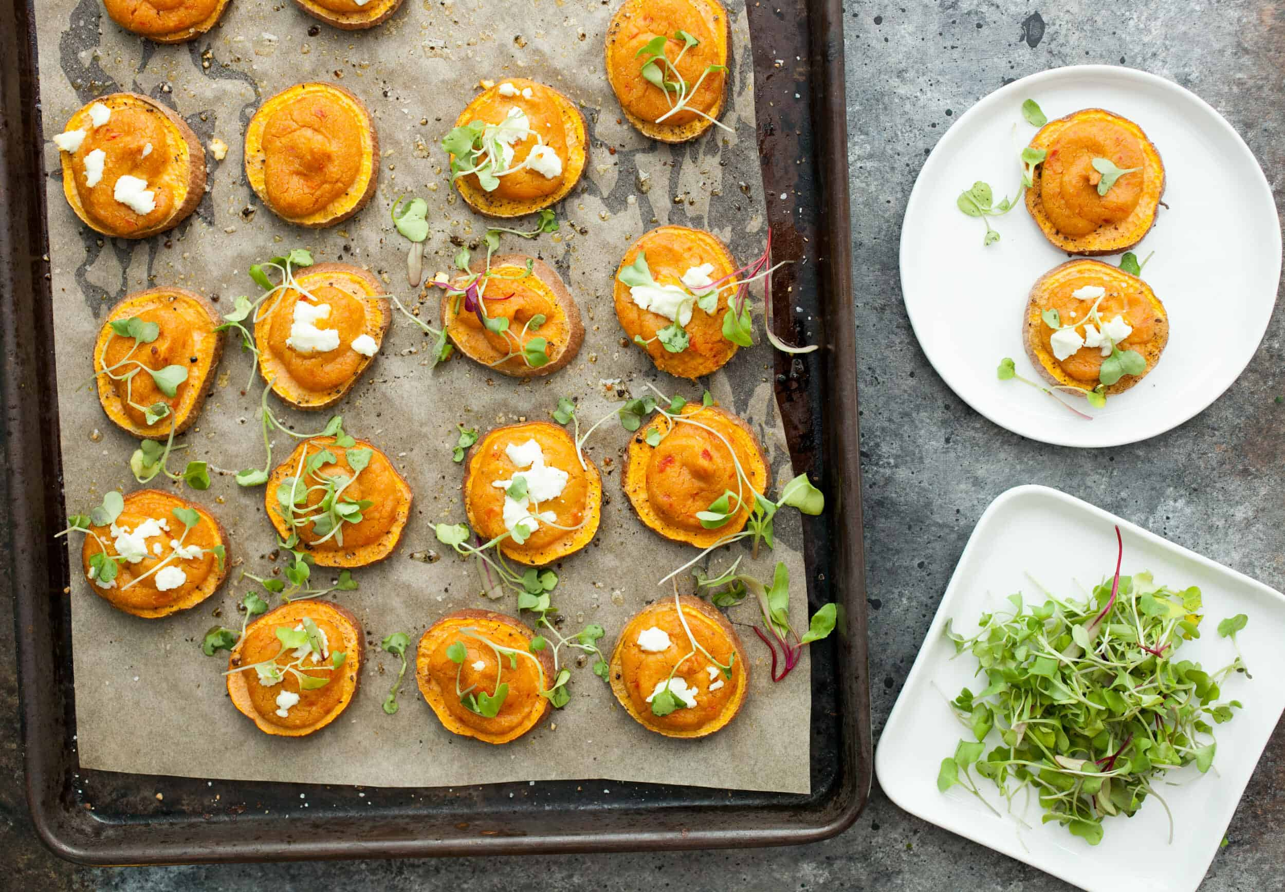 Hummus Sweet Potato Rounds: These beautiful apps are simple to make but have big flavors! Great for a party or pile them up for a quick unofficial meal!   macheesmo.com