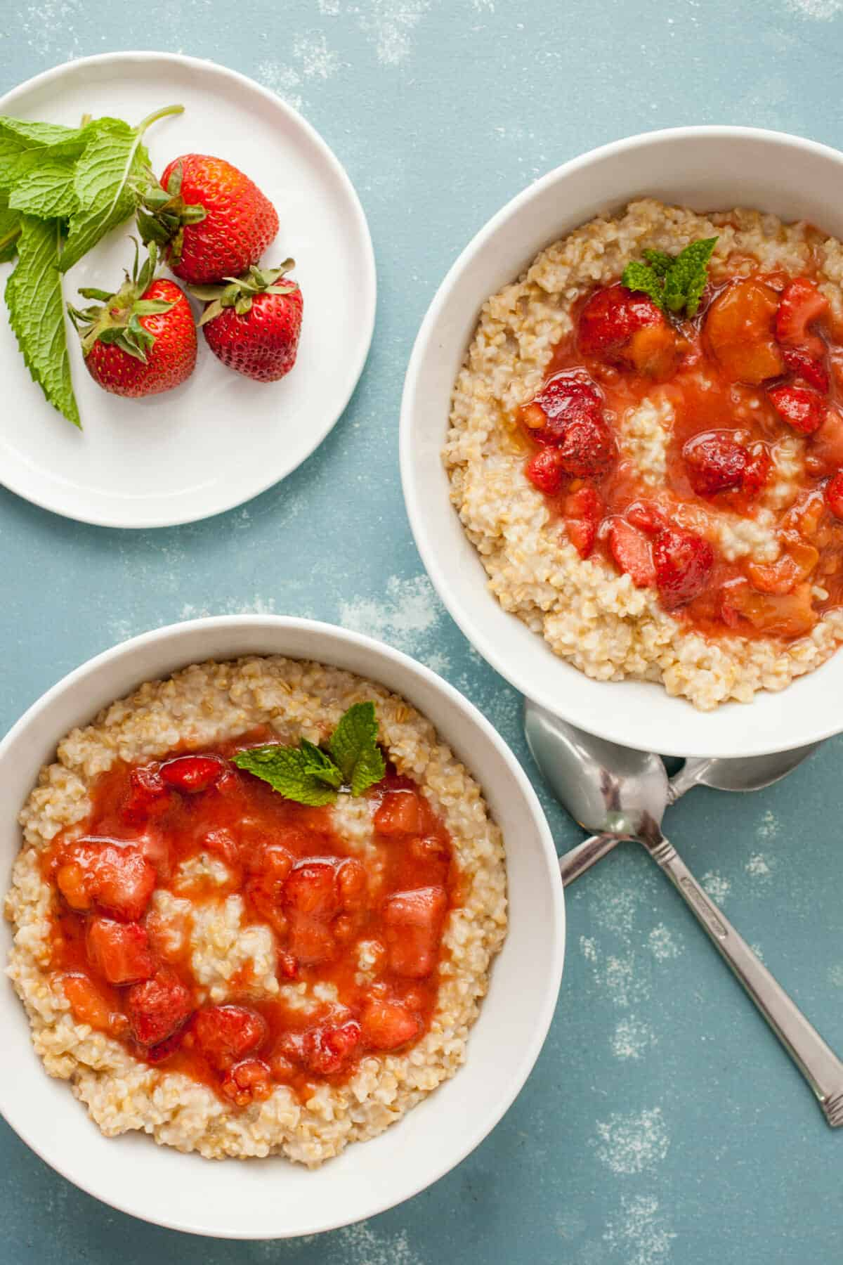 Strawberry Rhubarb Oatmeal Bowls: While you can find fresh rhubarb, add these simple oatmeal bowls to your breakfast list! I like to use steel cut oats, but any will work! | macheesmo.com