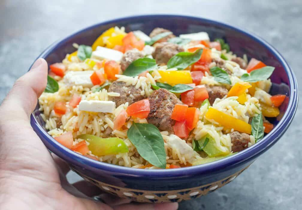 Turkey Meatball Orzo Salad: A light and colorful orzo salad packed with veggies, feta, and homemade turkey meatballs. Great for dinner or lunch! | macheesmo.com