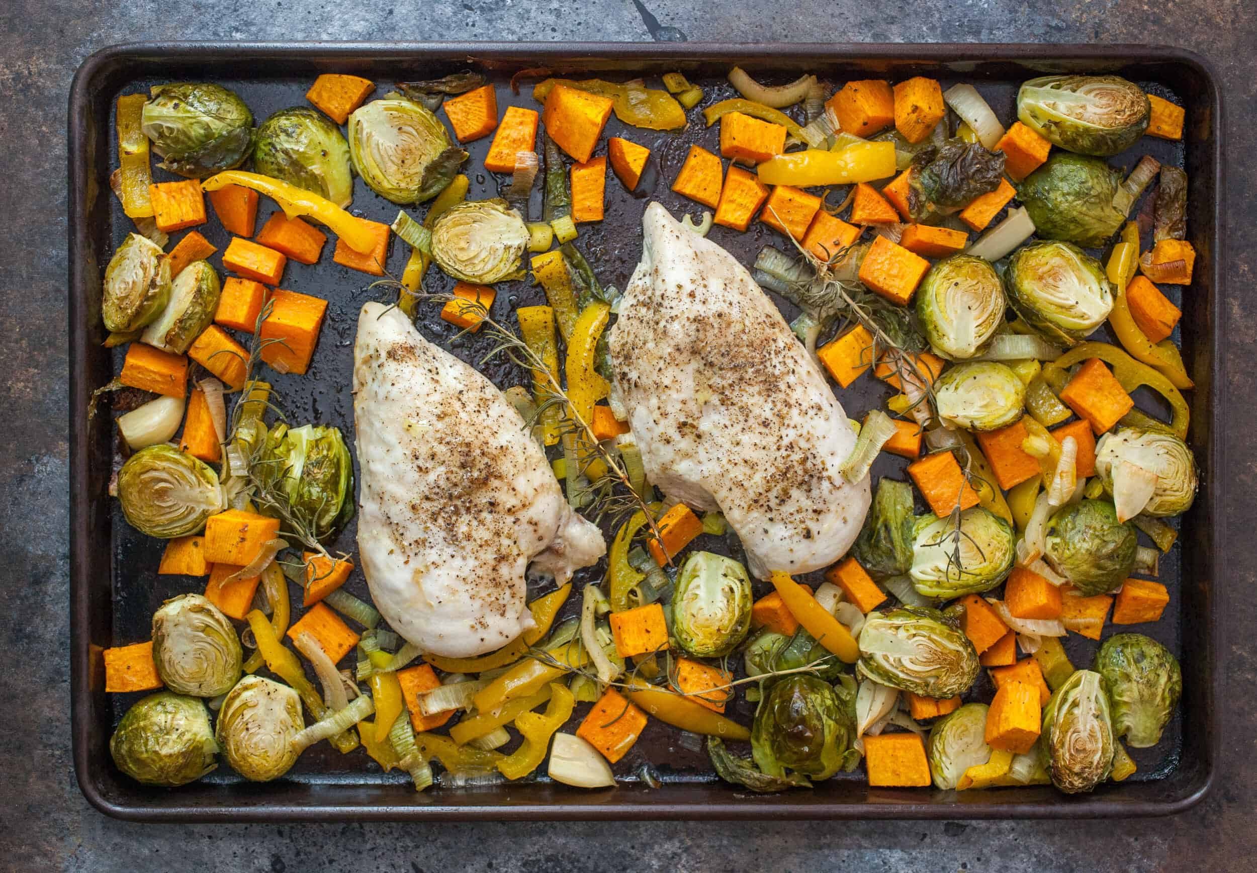 Fall Veggie Chicken Sheet Pan Dinner: This is a great recipe to bring some fall flavors into your dinner routine. Easy to make and everything cooks at once! | macheesmo.com